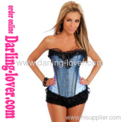 Blue Sexy Flower Lace Corset