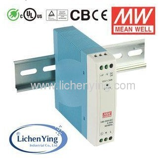 MeanWell 24W 1A 24V Single Output Industrial DIN Rail Power Supply MDR-20-24 UL CB CE TUV