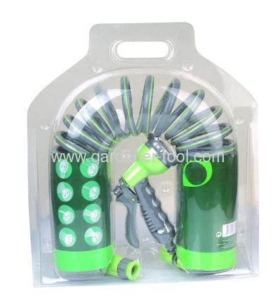 10M/33FT garden coil hose with 8-function hose nozzle set for double blister with insert card package