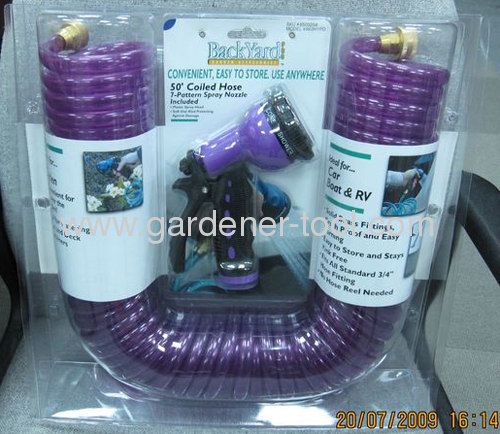 15M/50FT EVA/PU garden coil hose with standing double blister with insert card package