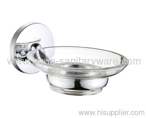 Round Zinc Alloy Soap Holder with Glass Soap Dish