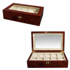 Mahogany Leather Wooden Watch Box Case