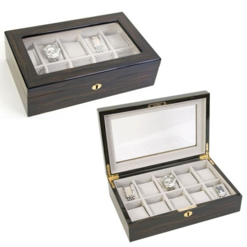 Ebony 10 PC Wooden Watch Box Case
