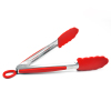 Silicone Food Tong With Stainless Steel Handle in Red