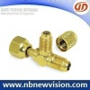 Brass Tee Fitting with Flare Nut & Valve Core