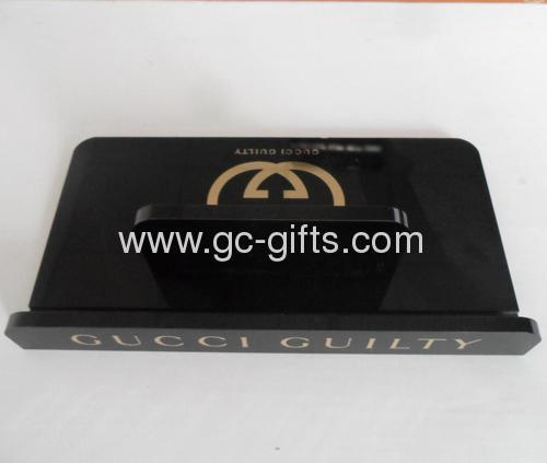 Black acrylic tablet display cases with logo stamped golden