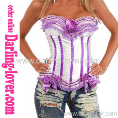 Sexy White Corset Purple Lace