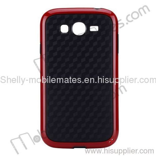 Solid Wall Decorative Pattern PC Frame+TPU Center Cover for Samsung i9082/i9080 Galaxy Grand Duos (Red+Black)