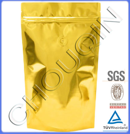 Top zipper stand up coffee bean packaging bag with valve