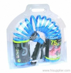25FT garden coil hose with nozzle set