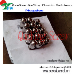 screw tip,screw head,nozzle,ring plunger,end cap,screw barrel accessiories of injection screw barrel