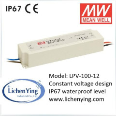 Mean Well 100W 8.5A 12V Single Output Drivers Switching LED Power Supply LPV-100-12 IP67 waterproof LED transformers