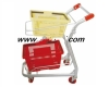 Powder Coated Unfolding two basket Hand trolley /Shopping Basket Cart/ grocery cart