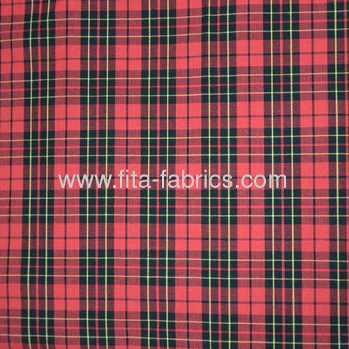 Polyester/cotton yarn dye plain woven shirt fabric
