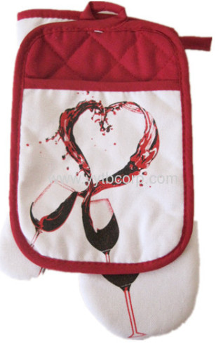 wine printed Microwave Oven Heat Insulation Glove & Coaster set