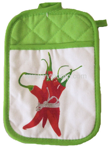 hot pepper printed Microwave Oven Heat Insulation Glove & Coaster set
