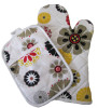 made of slubbed fabric,reavtive printing, microwave glove & coaster set