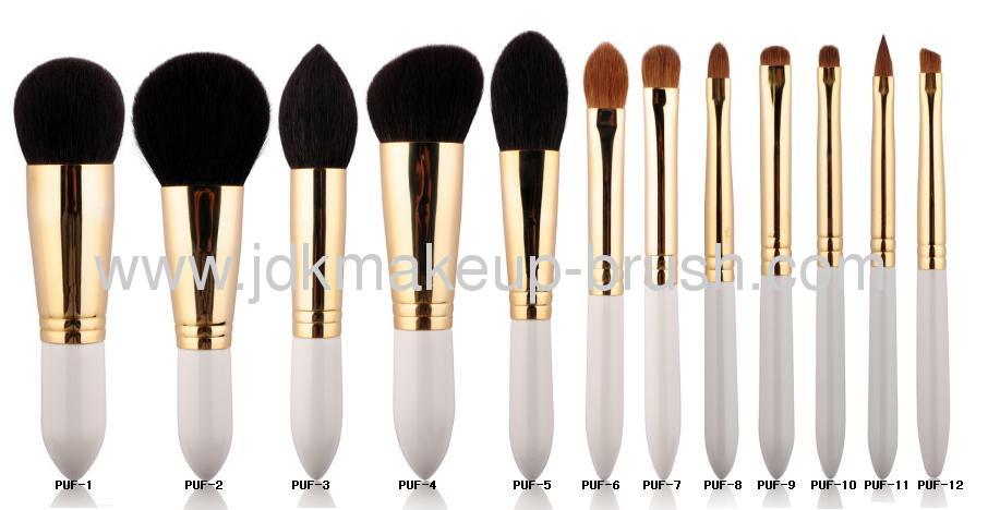 12 Pcs White Handle Makeup Brush Set