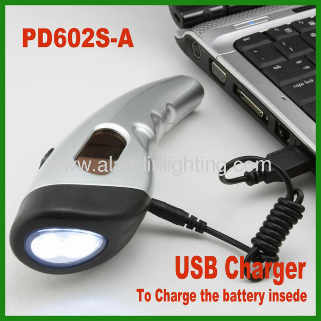 Smart Phone charger solar powered dynamo hand cranking flashlight