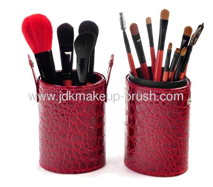 High quality 16pcs makeup brush set with crocodile cup holder