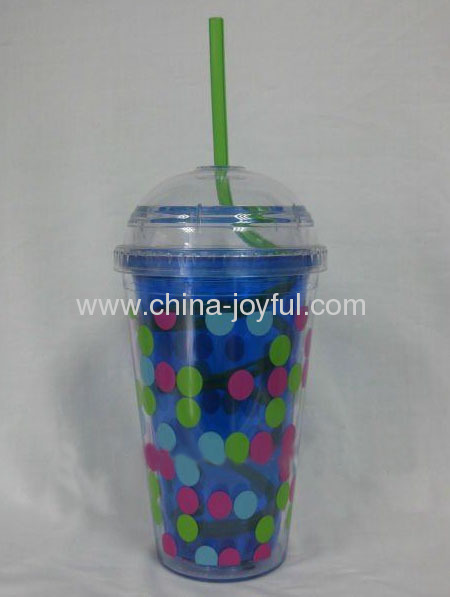 16oz Double Wall Cup with Dome Lid & Curving Straw
