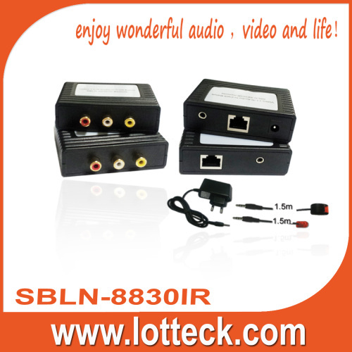 Composite Video+L/R audio +IR extender over lan cable Cat5/5e/6