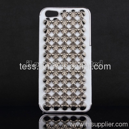 Cool Punk Pyramid Tapered Nail tip Stud Styles Leather Cases For iPhone 5