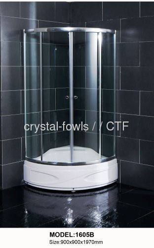High tray economic polished silver frame shower enclosure