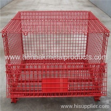 Foldable stainless steel wire basket for storage/warehousing cage (factory )