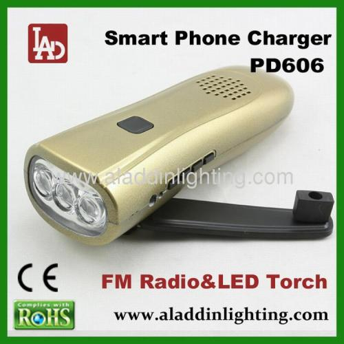 Wind up FM radio LED flashlight