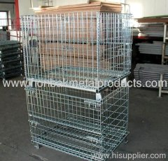 Stacking and folding wire mesh container with wheels