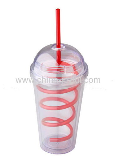 16oz Double Wall Plastic Cup with Dome Lid & Curving Straw