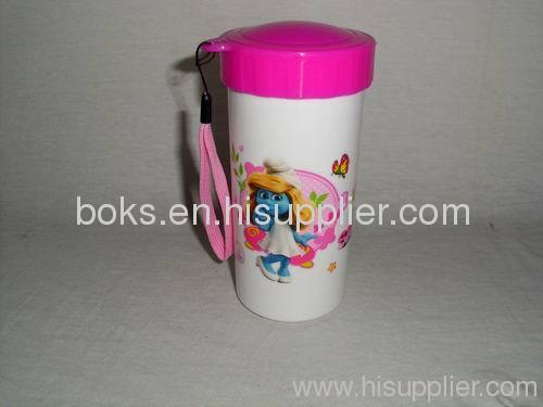 pink lovely kids plastic water cups with lids