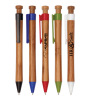 Bamboo click promotional ballpoint pen with plastic clip