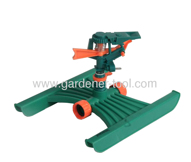 Plastic H base with Plastic impulse sprinkler with female fitting to allow unit-to-unit
