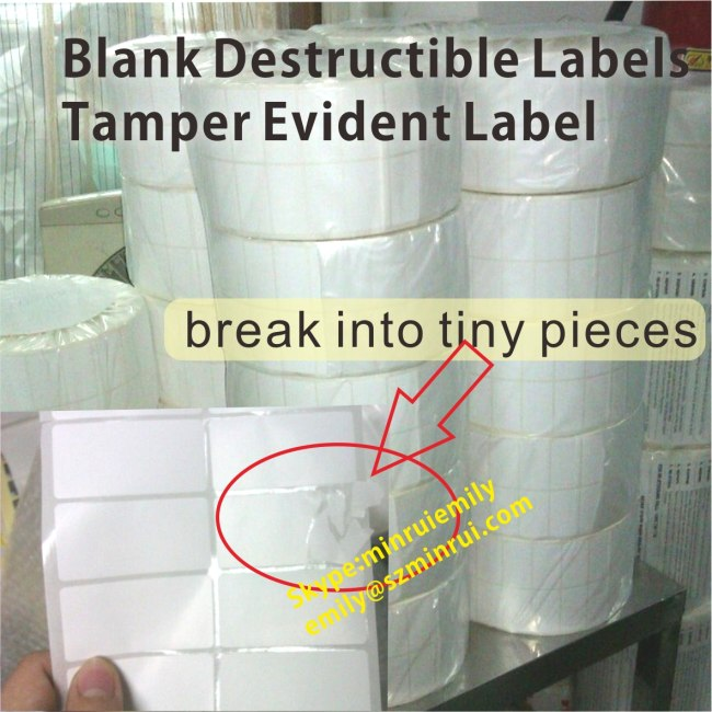 Custom Blank Fragile Destructive Labels In Rolls for Printed Barcode Or Sequence Numbers