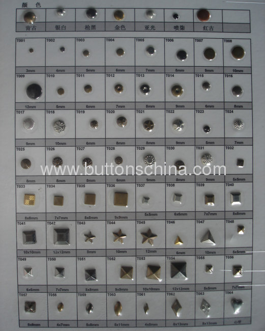 Round metal hot fix studs