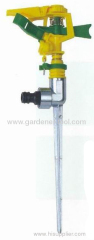 Plastic impulse lawn sprinkler with zinc spike