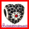 wholesale Big hole sterling pave crystal flower charm rhinestone heart beads