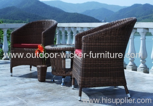 Round wicker furniture coffee table and leisure chairs