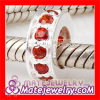 pave Red CZ Stone Sterling Silver European spacer beads for bracelets
