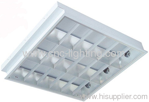 recessed, grid fluorescent ceiling light fixture