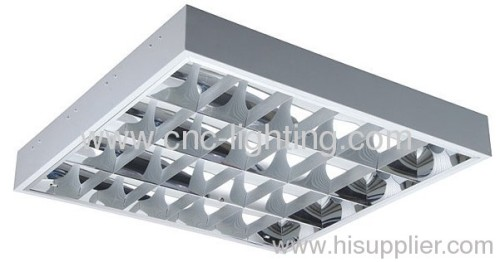 surface mounted T8 grille light fixture with louver and parabolic reflector.