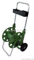 60M Metal Garden Hose Reel Cart With Garden Tools Basket