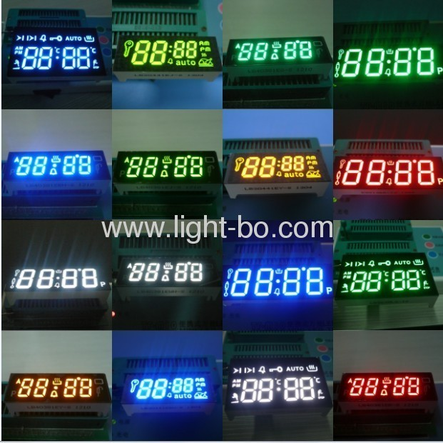 Custom Design 7 Segment LED Displays for cooking application ; can withstand environmental temperature of +120 °C.