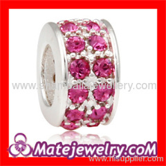 Wholesale Large hole European crystal silver spacer charm beads