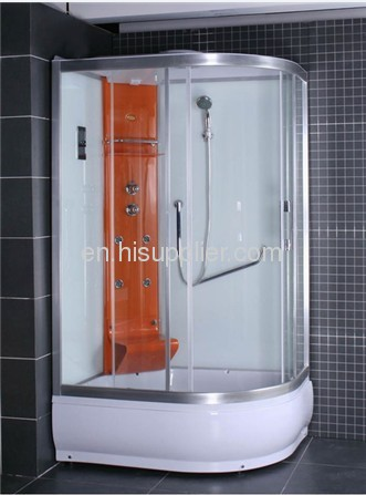 corner colorful shower cabin