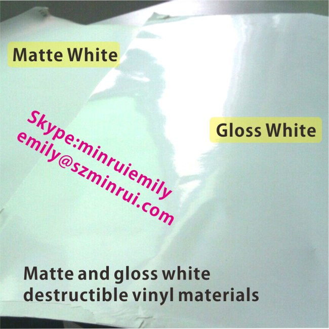 Glossy White Ultra Destructible Vinyl Materials,Destructive Label Materials with Gloss White Surface