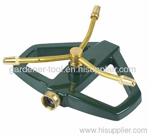 3 arm brass rotary sprinkler with zinc alloy base to irrigate small area yard