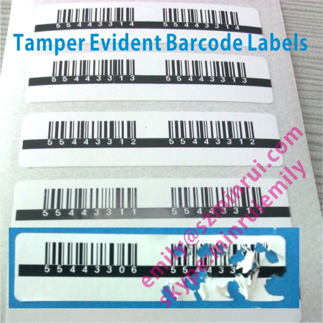 Custom Self Destructible Barcode Stickers,Security Destructive Barcode Labels,Security Barcode Label with Serials Number